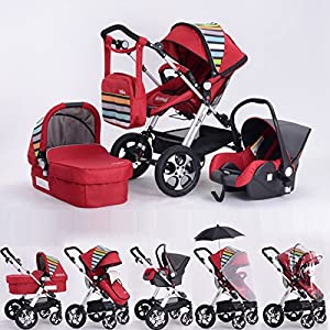 Cochecito Completo de bebé combinado 3 en 1 - Cochecito de bebé, silla de paseo y silla de coche, Butterfly rojo