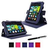 "rooCASE Amazon Kindle Fire 7 Case - (Current Generation) Dual View Multi Angle Tablet 7-Inch 7"" Stand Cover - NAVY (With Auto Wake / Sleep Cover)"