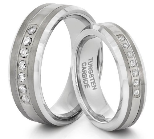 His  &  Her's 8MM/6MM Tungsten Carbide Silver CZ Wedding Band Ring Set (Available Sizes H - Z+2) EMAIL US WITH YOUR SIZES
