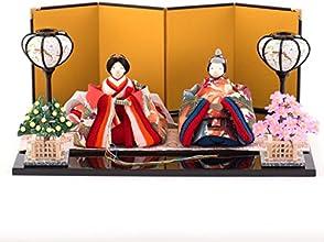 雛人形 ひな人形 正絹古布調 古代雛飾り 間口38x奥行29x高さ15.9cm