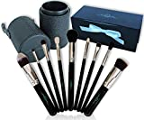 Makeup Brush Set (10 Pc) With Luxury Travel Case Holder & Bonus Gift Box Foundation Kabuki Powder Blush Concealer Kit Professional Eye And Face Collection For Liquid, Cream Or Mineral Products