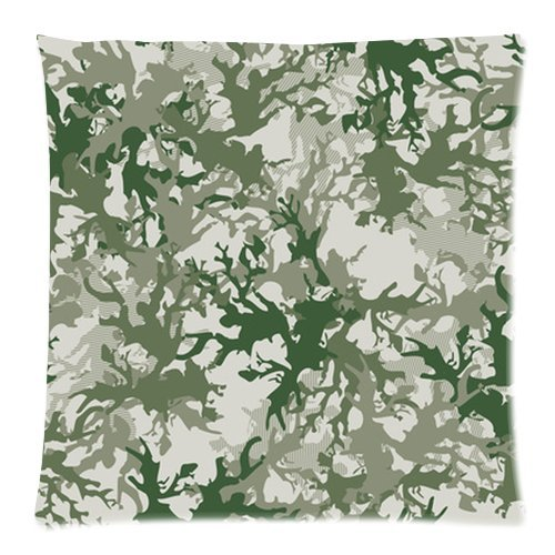Fashion Gray And Green Camo Print Pillow Cushion Case Throw Pillow Covers Pillow Inner Included Soft Bedding 18X18 (One Side) New Fashion front-916601