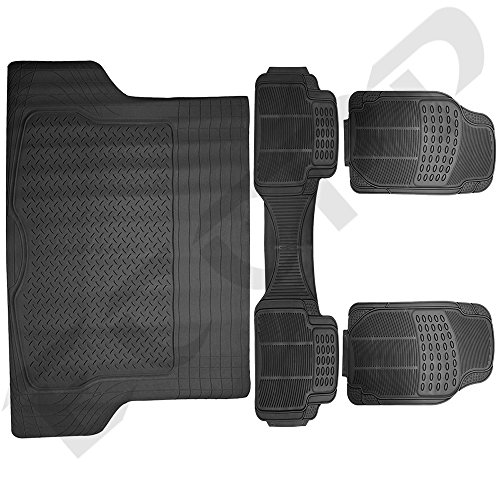 ECCPP® 4 PC Ridged Heavy Duty Car Rubber Mats Black - Universal Fit, 2 Row + Trunk Cargo Mat, All Weather Proctection (4 Pc Car Mats compare prices)