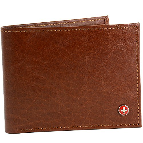Alpine Swiss Men's Multi-Card Compact Center Flip Bifold Wallet Brown