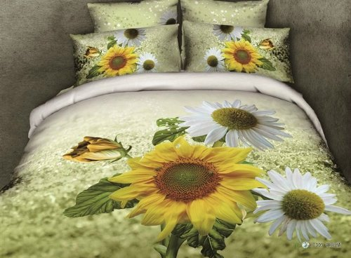 Queen Size 100% Cotton 4-Pieces 3D Yellow White Sunflowers Green Floral Prints Duvet Cover Set/Bed Linens/Bed Sheet Sets/Bedclothes/Bedding Sets/Bed Sets/Bed Covers/5-Pieces Comforter Sets (5) front-1004656