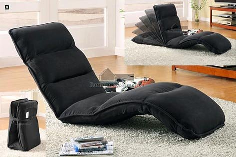 Oasis 1 Multi Positional Lounger Sleeper In Black Full Image