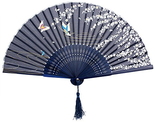 Leegoal(TM) Blue Butterfly White Flower Pattern Lace Bamboo Handheld Folding Fans for Girls Women