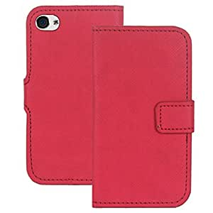 Heartly Premium Luxury Check Pattern PU Leather Flip Bumper Back Case Cover For Apple iPhone 4 4S 4G - Red