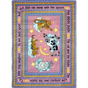 "Joy Carpets Kid Essentials Infants & Toddlers Hey Diddle Diddle Rug, Pink, 7'8"" x 10'9"""