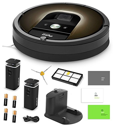 Cheapest Price! iRobot Roomba 980 Vacuum Cleaning Robot + 2 Dual Mode Virtual Wall Barriers (With Batteries) + Extra Side Brush + Extra HEPA Filter + More