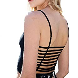 Black Strap Vest Cut Out Shirt Summer Beach Tank Free Size