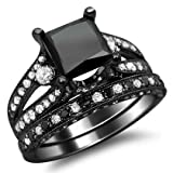 4.10ct Black Princess Cut Diamond Engagement Ring Bridal Set 18k Black Gold with a 2.0ct Princess Cut Black Center Diamond