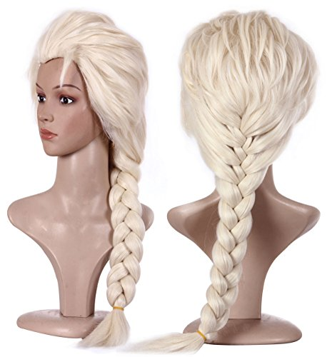 Blond Cosplay Elsa Frozen Wig Braided Ponytail