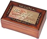 Mom Inspirational Decorative Woodgrain Rose Music Box - Plays Amazing Grace