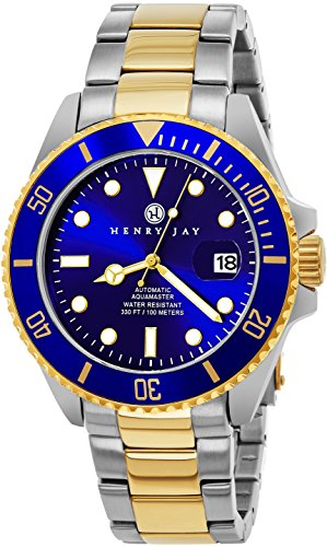 Henry Jay Men's HJ2002 23K Gold Plated Two Tone Stainless Steel Analog Mechanical Automatic Professional Dive Watch
