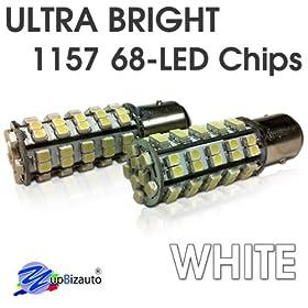 YupBizauto Brand Pair of 1157 White Color 68Chips Dual Filament Super Bright LED Light 5W Bulbs, Turn Signal Light, Corner Light, Stop Light, Parking Light, Side Marker Light, Tail Light, and Backup Lights