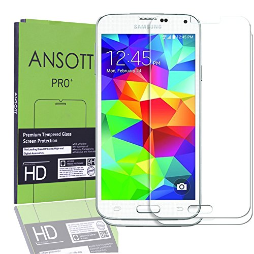 2-Pack-Samsung-Galaxy-S5-Screen-ProtectorANSOTT-Premium-Tempered-Glass-026mm-Anti-scratchBubble-FreeExplosion-proofPressure-resistant-9h-Hardness-Screen-Protector-for-Samsung-Galaxy-S5