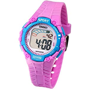Time100 Kids' Fancy LCD Multifunction Purple Strap Digital Watches#W40010L.05A