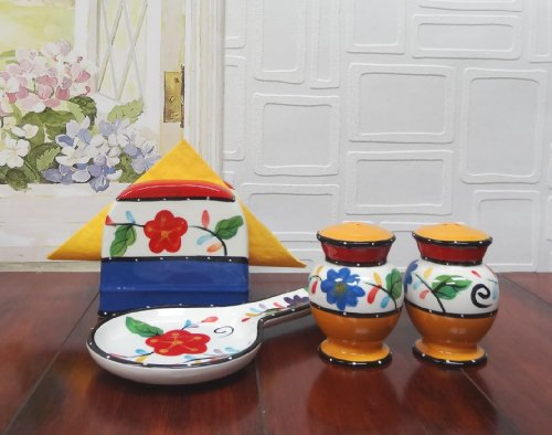 Tutti Frutti Viva Collection Hand Painted Ceramic Table Top Set, 89525/28 By Ack back-157890