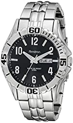 Armitron Men's 20/5070BKSV Day/Date Function Dial Silver-Tone Bracelet Watch