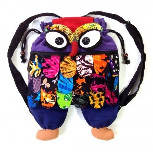 Thai Handmade Handwoven Cotton Cloth Owl Backpack For Teens And Kids Size: L front-204726