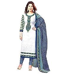 Cenizas White Colour Poly CottonMaterials Unstiched Salwar suits Dress Material