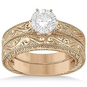 Allurez - Klassische Filigree Entwickelt Solitaire Diamant-Hochzeits Set 18K Rose Gold