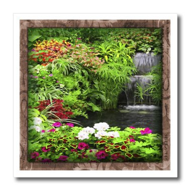 Susan Brown Designs Nature Themes - Flowers and Waterfall - 8x8 Iron on Heat Transfer for White Material (ht_41283_1)