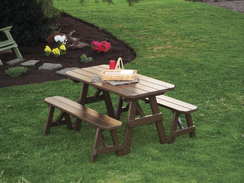 Outdoor 6 Foot Pine Picnic Table With 2 Benches Detached