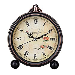 Vintage Silent Desk Alarm Clock Non Ticking Quartz Movement Battery Operated , HD Glass Lens, Easy to Read (1)