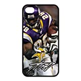 Luckhappy123 store Custom NFL Minnesota Vikings Team Adrian Peterson black rubber Case for iphone 4 4s cover