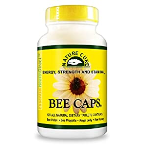 Bee Caps Pollen Propolis Royal Jelly Raw Honey 4 in 1 120 Caplets 100% money back guaranteed Supplement for Energy Strength Stamina Natural Nutrition for Healthy Diet Protein Vitamins Minerals Chewable Nature Cure EHD Health from the Hive