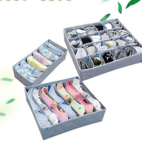3Pcs, 24-Cell, 7-Cell, 6-Cell Panty Underwear Socks Ties Bras Organizer Storage Bag Box tom clancy's splinter cell 3d