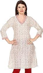Vedanta Women's Regular Fit Cotton Kurta (KACHNDPRNT103_OW_L, Off White, Large)