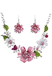 1 X New White Gold Plated Oil Drip Rhinestone Flower Statement Bib Necklace Earrings