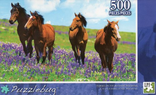 Horses on the Meadow - Puzzlebug - 500 Pc Jigsaw Puzzle - NEW