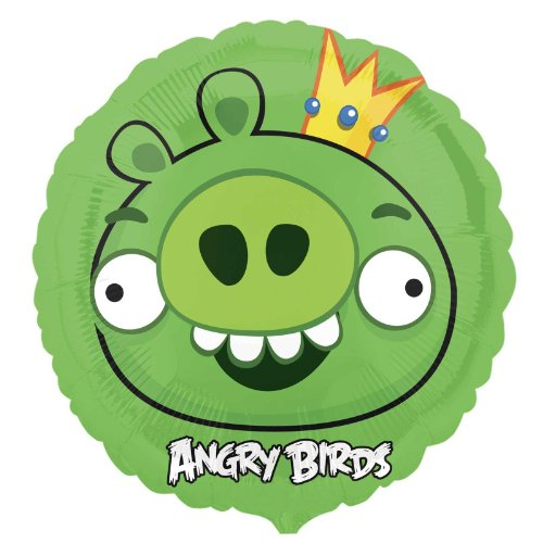 "Green Pig Angry Birds 18"" Foil Balloon Party Accessory Birthday Party Supplies - 1"
