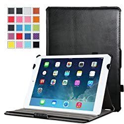 MoKo Genuine Leather Slim-Fit Cover Case for Mini 3 (2014 Edition with Touch ID), Mini 2 (2013 Model with Retina Display) and Mini (2012 1st Gen), BLACK (Will not fit iPad Mini 4)
