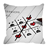 MeSleep Digitally Printed Knot And Cross Valentine Cushion Cover - White