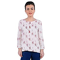 Funk For Hire Women Rayon Katputli printed Placket Top (Off-White, Size S)