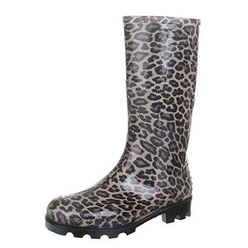 Damen-Schuhe-GST-F901P-STIEFEL-REGENSTIEFEL-MIT-MUSTER-GUMMI-Gummi-Leo-Multi-Gr-38