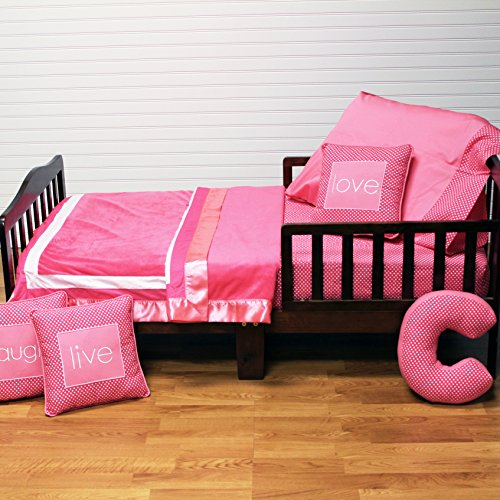 One Grace Place Simplicity Hot Pink Toddler Set, Hot Pink and White