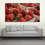 Inephos Multiple Frames Beautiful Strawberries Wall Painting (150cm X 76cm)