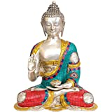 Exotic India Lord Buddha Preaching His Dharma - Brass Statue With Inlay - B00MBMXSFO
