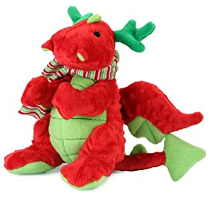 goDog Reindeer Holiday Dragon Tough Plush Dog Toy with Chew Guard Technology, Large, Red