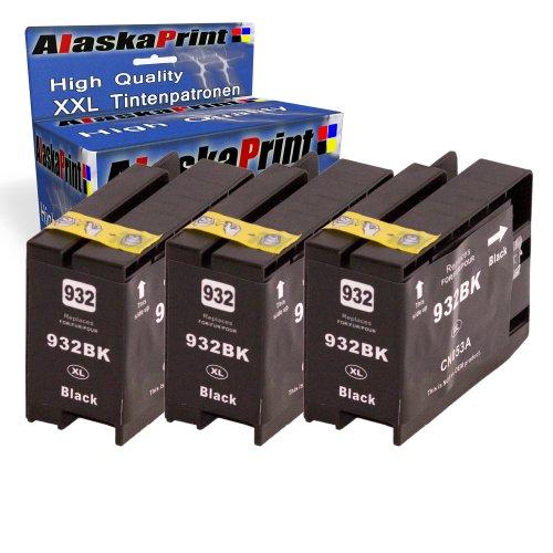 Alaskaprint 3x Kompatible Druckerpatronen Als Ersatz für Hp 932 XL (Schwarz)