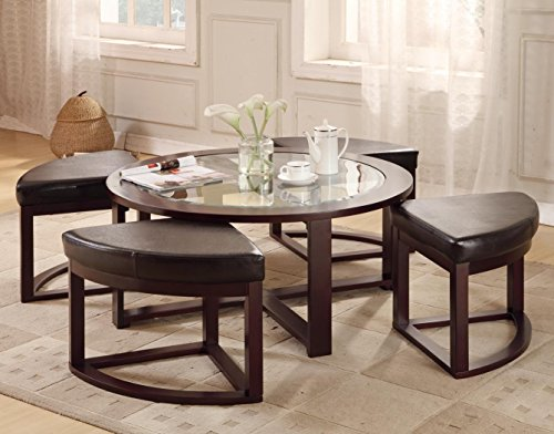 40 Round Coffee Table With 4 Wedge Stools Espresso Finish By Bella Esprit At The Repo