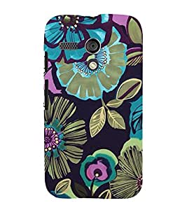 BLUE FLORAL PATTERN DESIGN 3D Hard Polycarbonate Designer Back Case Cover for Motorola Moto G X1032 :: Motorola Moto G (1st Gen)