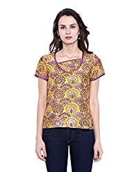 Fabindia Women's Body Blouse Shirt (10426072_Yellow and Green_X-Small)