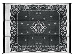 Camco 42853 Reversible Outdoor Mat (9\' x 12\', Charcoal Oriental)